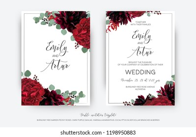 Wedding vector Floral invite, invitation save the date card  modern design: garden red rose flower, burgundy dahlia, eucalyptus greenery branches & berries frame, border. Bohemian stylish template set