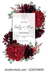 Wedding vector Floral invite, invitation save the date card design. Red vine rose flower, burgundy dahlia, eucalyptus greenery branches & berries boho frame, border. Bohemian stylish layout