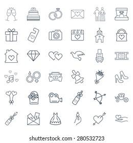 Wedding vector icon set