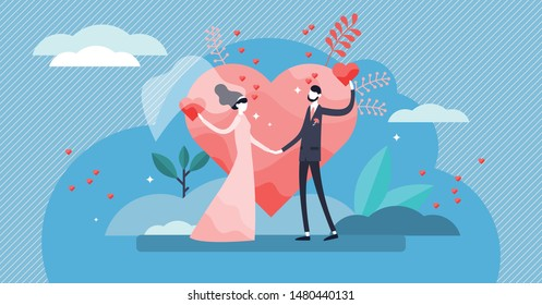 Wedding vector illustration. Flat tiny couple marriage day persons concept. Visualization for engagement, ceremony and romance celebration blog topic. Symbolic wife and husband love promise process.