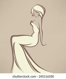 wedding vector illustration, image of romantic bride