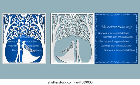 wedding. Vector illustration Postcard. Invitation and greeting card with With the groom and the bride under the trees. Pattern for the laser cut, boy and girl. trees.