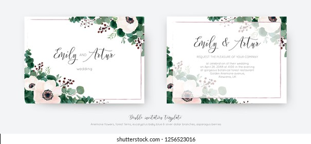 Wedding vector invite, double invitation card floral design. Light pink Anemone flowers, greenery eucalyptus branches, leaves, tender berries & mauve, transparent frame. Elegant, romantic template set