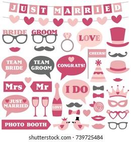 Wedding vector photo booth props