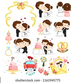 a wedding vector set illustration