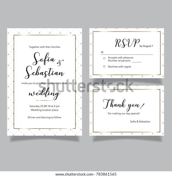 Wedding Vector Set Invitation Card Rsvp Stock Royalty Free