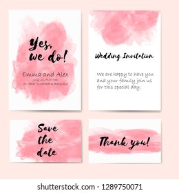 Wedding vector set for invitations with subtle watercolors.