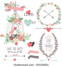 Wedding Vintage Flowers and Birdcage- Illustration