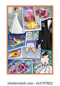 Wedding vision board. Wedding collage.