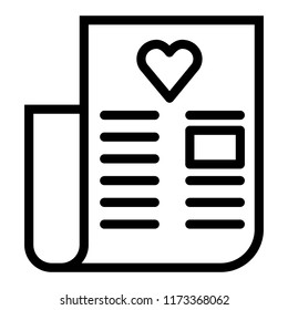 Wedding vows line icon. Letter with heart vector illustration isolated on white. Love letter outline style design, designed for web and app. Eps 10