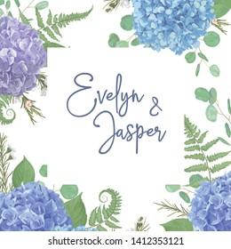 Wedding, watercolor seasonal flower card.Leaves, blooming branches eucalyptus, gaultheria, salal, chamaelaucium, seasonal fern.Blue, purple, of hydrangea. vector design frame.Isolated and editable