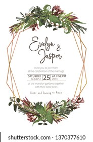 Wedding, watercolor seasonal flower card.Plants, leaves, branches, brunia, blooming eucalyptus, leucadendron, gaultheria, salal, jatropha vector design gold frame.Floral rectangle.Isolated