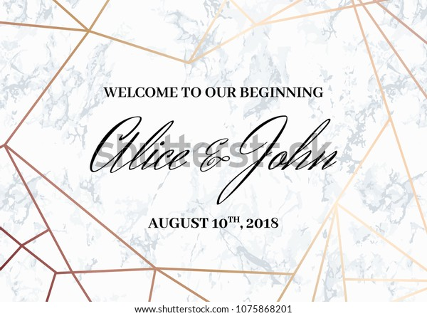 Wedding Welcome Sign Poster Template Geometric Stock Vector (Royalty