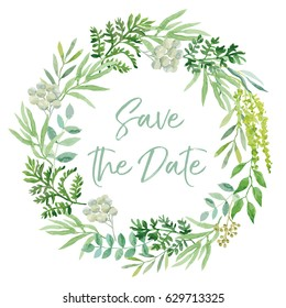 Wedding wreath. Green leaves. Vector illustration. Save the date greenery.