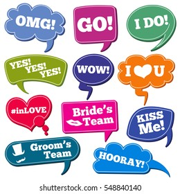 Weddings phrases in speech bubbles vector photo props set.
