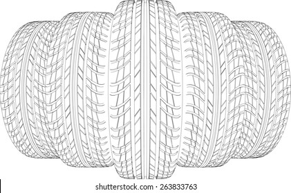 Wedge of five wire-frame tires. Vector illustration rendering of 3d