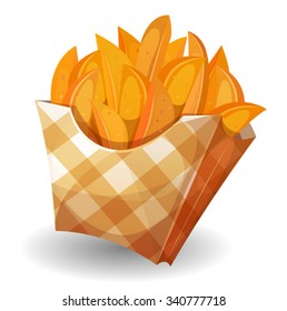 Wedge Potatoes In Box/ Illustration of cartoon wedge potatoes character with yellow striped carton package, for snack restaurant and takeaway food