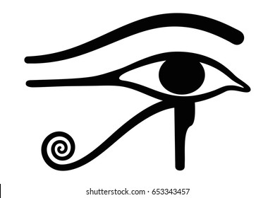 Wedjat, later called Eye of Horus. Ancient Egyptian symbol of protection, royal power and good health, personified in goddess Wadjet. Similar to Eye of Ra, belonging to god Ra. Illustration. Vector.