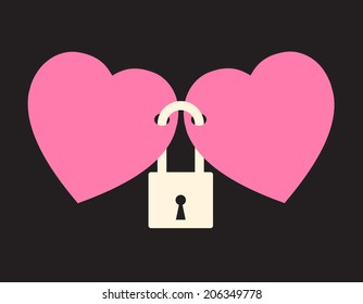wedlock - two hearts locked with the lock