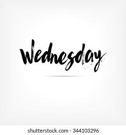 Wednesday. Hand written brush typography. Isolated calligraphy design element