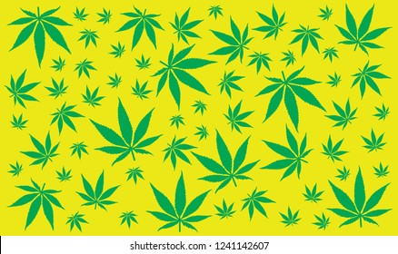 weed art cannabis leaf repeat on background Vector Illustration