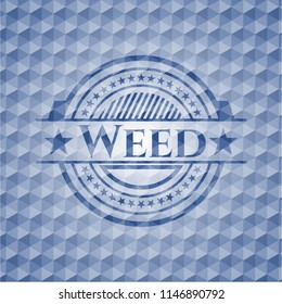 Weed blue emblem or badge with abstract geometric pattern background.