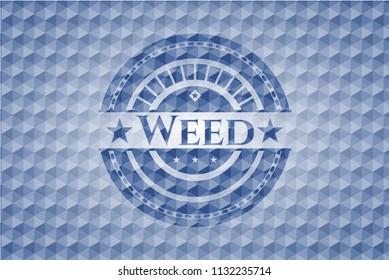 Weed blue hexagon badge.