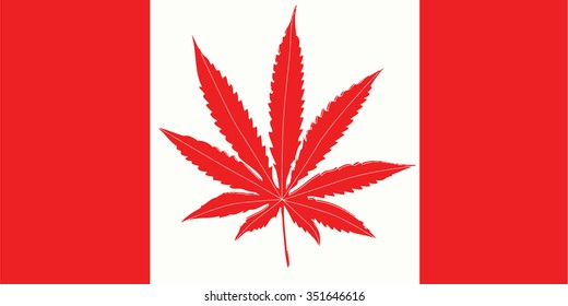Weed in Canada flag.