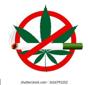 weed cigarette and cannabis leaf in stop sign, cigarettes weed and marijuana hemp leaf in warning signs, cigarette and hemp leaf clip art, marijuana cigarette for icon