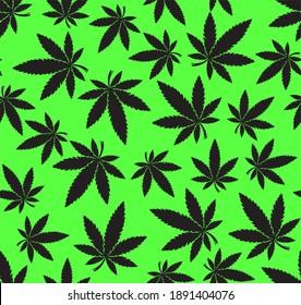 Weed Hemp Ganja Seamless Vector Pattern