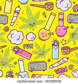 Weed kawaii cartoon seamless vector pattern yellow