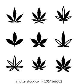 Weed and Marijuana Line and Glyph Icons Set