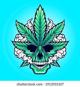 weed marijuana skull illustration vector