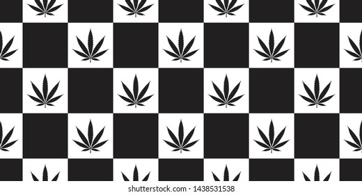 Weed seamless pattern Marijuana vector cannabis leaf scarf isolated checked repeat wallpaper tile background design