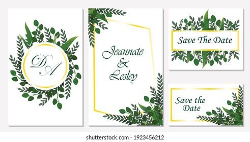 weeding invitation elegant tropical green floral