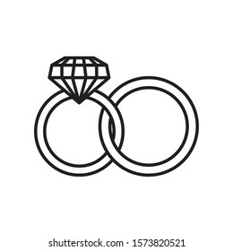 weeding rings line style icon vector illustration design