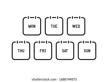 Week calendar flat icon on white background. Vector Illustration.