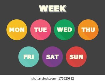 week concept, colorful vector symbols