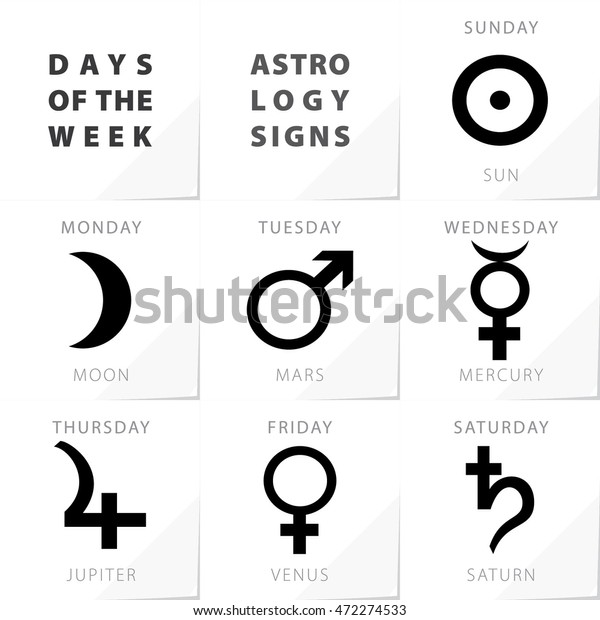 Week Days Astrology Signs Moon Mars Stock Vector (Royalty Free