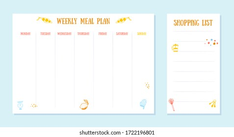 Week meal planner, daily food plan. Diet diary list, weekly organizer, A4 printable page