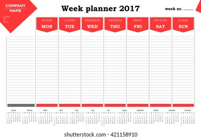 Week planner 2017 calendar for companies and private use