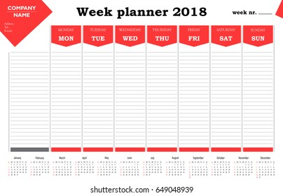 Week planner 2018 calendar, schedule and organizer for companies and private use