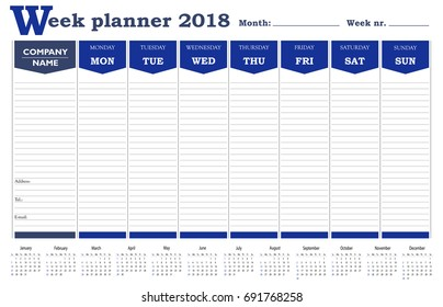 week planner 2018 calendar schedule and organizer for companies and private use