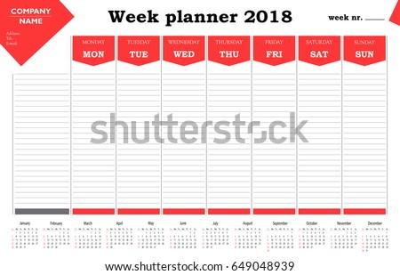 week planner 2018 calendar schedule organizer のベクター画像素材