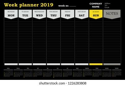 Week Planner 2019 Calendar Schedule Organizer Stock Vector Royalty