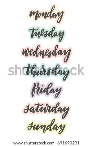 Weekdays Planner Bujo Stickers Modern Calligraphy Image Vectorielle