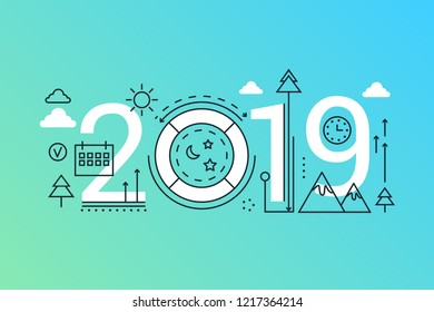 Weekend 2019 word trendy composition concept banner. Outline stroke holidays, vacation, weekend. Flat line icons lettering typography on white background.