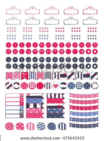 Weekend Bannersweather Icons Moreprintable Planner Stickers Stock