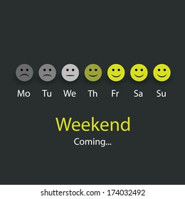 Weekend Coming - Design Concept with Smile Faces