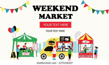 weekend market banner consisting of burger food truck , crepe and meatballs stalls, surrounded with people, all is colorful doodle cartoon flat design, illustration, vector on white background